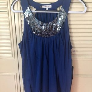 Royal blue round neck top